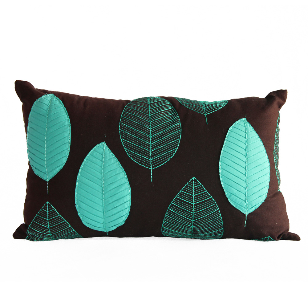 Teal/Aqua green leaf cushion