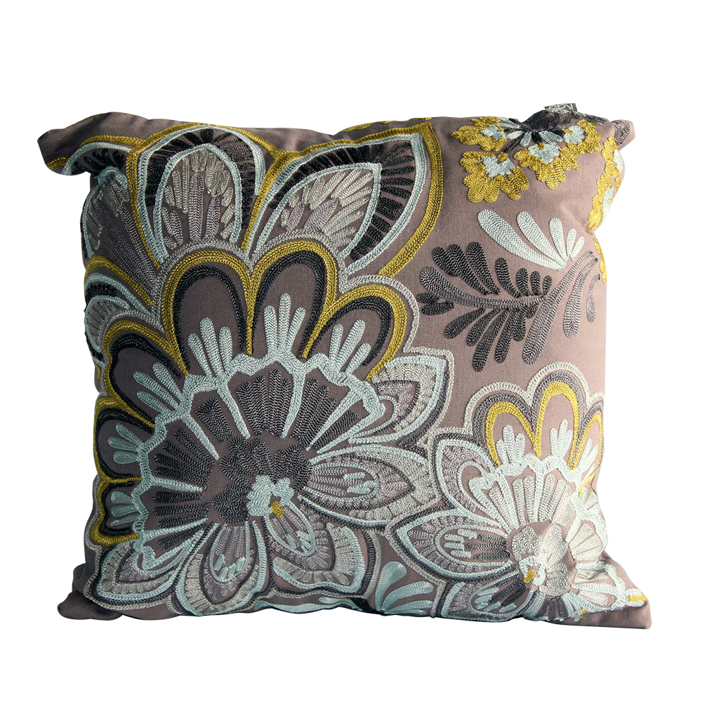 Silver Mustard embroidery square cushion